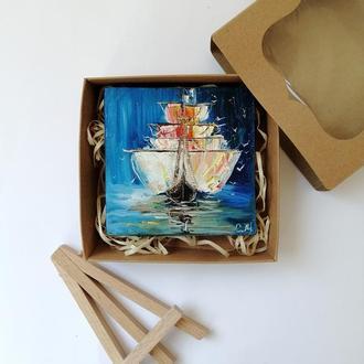 Картина маслом парусник, Картина маслом с кораблем, Подарочный набор с картиной, Картина на подарок