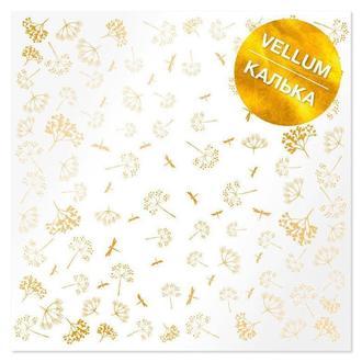 Калька (веллум) Фабрика Декору 30,5*30,5см 90г с фольгированием Golden Dill FDFMA-2-010