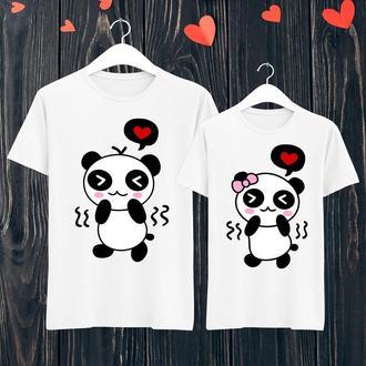 Парные футболки Push IT с принтом Влюбленные панды ФП001396