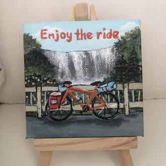 """Мини картина """"Enjoy the ride"""" 8*8 см"""