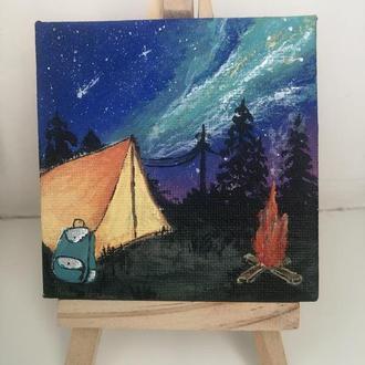 """Мини картина """"Ночь в палатке"""" 8*8 см"""