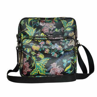Чорна сумка через плече Flowers pattern Messenger bag із принтом
