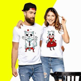 Парные футболки Push IT с принтом Кошечка и Кот (4) Код ФП000612