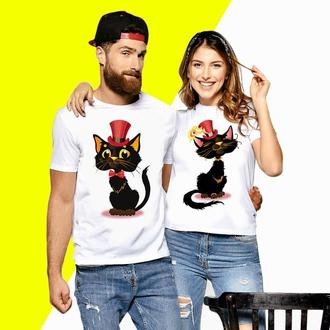 Парные футболки Push IT с принтом Кошка и Кот (3) Код ФП000593