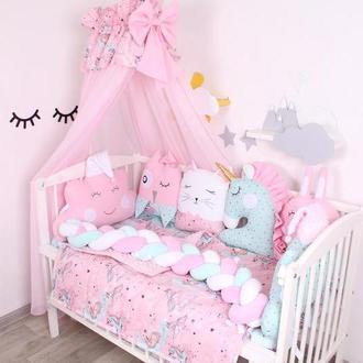 Комплект в кроватку с балдахином в розово-мятном цвете