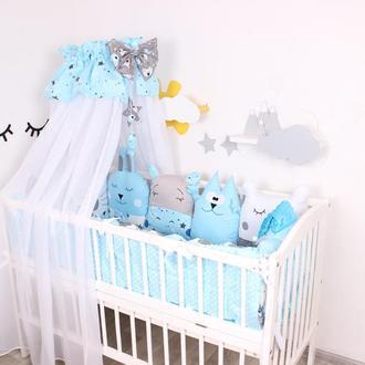 Комплект в кроватку с балдахином в Голубом цвете