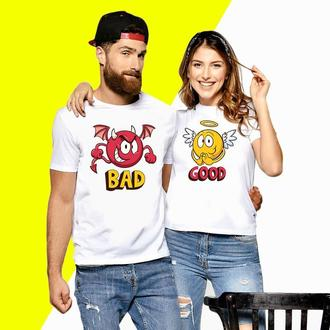 Парные футболки Push IT с принтом Смайлики Good и Bad (3) Код ФП000432