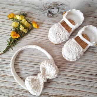 Пинетки и повязка для девочки. Пинетки сандалики,повязка бантик