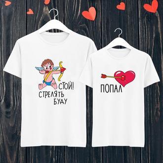 Парные футболки с принтом Купидон и Сердце Push IT ФП000609