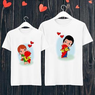 """Парные футболки с принтом """"Love is..."""" Push IT ФП001412"""