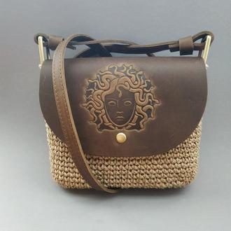 Стильная женская сумка через плечо Кроссбоди вязаная из джута, кожа цвет Коричневый