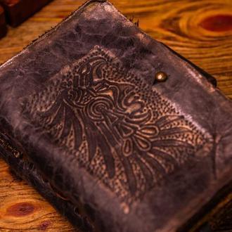 Винтажный кожаный блокнот  Фиолетовый состариный