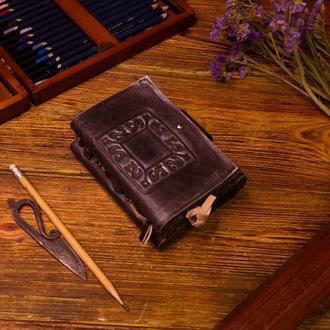 Винтажный кожаный блокнот под старину - Коричневый