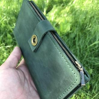 """Кожаный кошелёк портмоне """"Brighton"""" зеленый"""