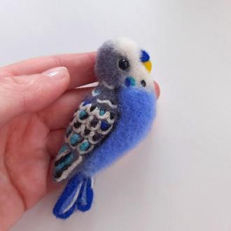Войлочная брошь Попугайчик. Попугай брошка.
