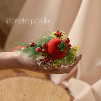 Веночек на голову с текстильным помідорчиком