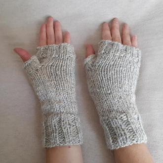 Перчатки без Пальцев Шерстяные Светло-Серые. Теплые Короткие Митенки Вязаные Спицами 100% шерсть