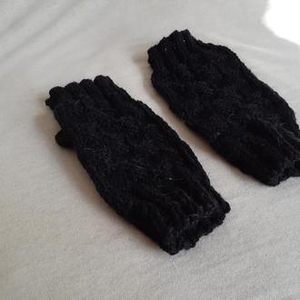 Мужские черные вязаные шерстяные митенки. Теплые перчатки без пальцев для него.