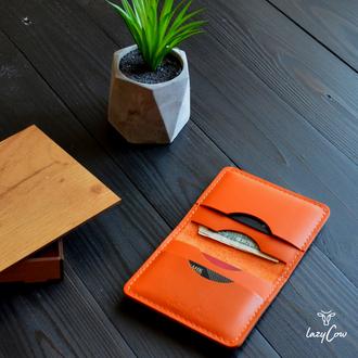 Мужской мини кошелек из натуральной кожи оранжевого цвета