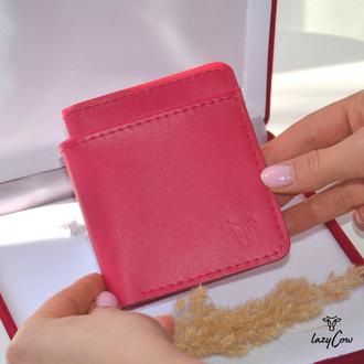Женский кошелек из натуральной кожи розового цвета