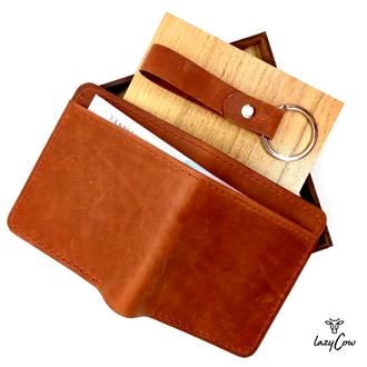 Мужской кошелек двойного сложений из натуральной кожи Crazу Horse цвет коньяк