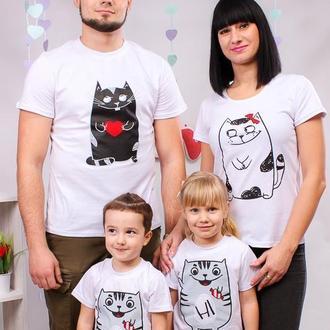 """ФП004393 Футболки Push IT Фэмили Лук Family Look для всей семьи """"Котики"""""""