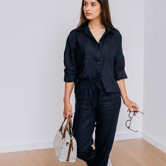 Льняные брюки на резинке с карманами, темно-синий