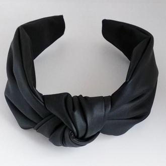 Обруч на голову черный чалма из искусственной кожи