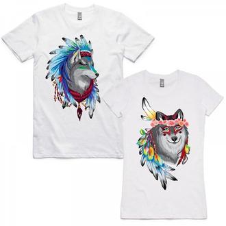 """ФП004443 Парные футболки Push IT с принтом """"Волк и Волчица ловцы снов"""""""