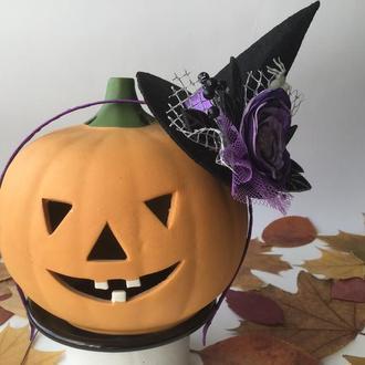 Фиолетовый обруч для волос «Шляпка ведьмочки 1»