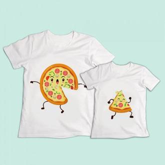 """ФП004441 Парные футболки Push IT с принтом """"Пицца"""""""