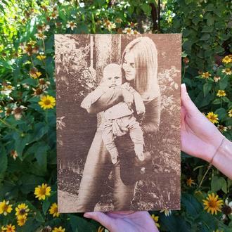 Портрет по дереву формата А3. Необычный подарок для близких и друзей