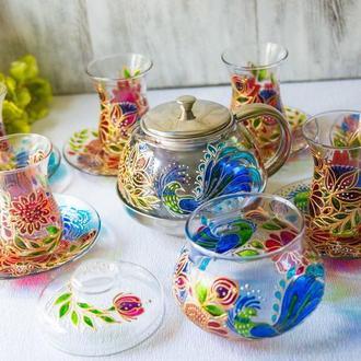 Чайный набор для турецкого чаепития армуды с заварником и сахарницей ′Петриковская роспись′