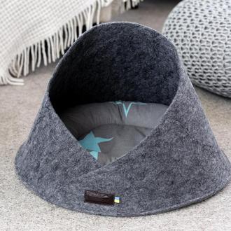 Лежак из войлока для котов и собак Pets Lounge Cave Gray, 45 см