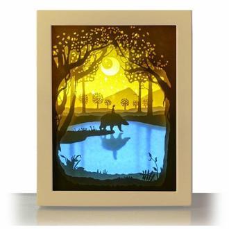 Всадник на медведе -  Lightbox, ночник, лампа, светильник.