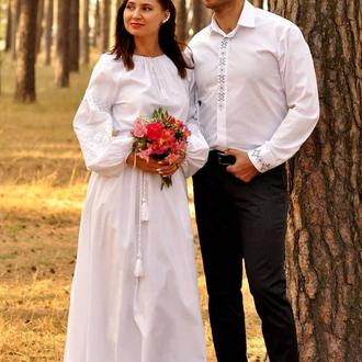 Свадебный комплект - белоснежная вышитая платье из хлопка и классическая мужская рубашка