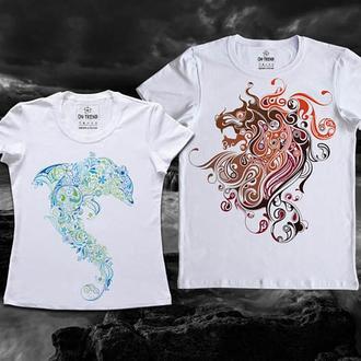 """ФП004615 Парные футболки Push IT с принтом """"Дельфин и Лев"""""""