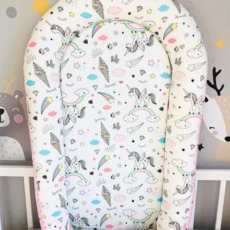 Кокон Позиціонер Babynest Гніздечко Матрац Для новонародженого MAAMdesign Unicorn Велюр