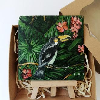 Подарочный набор с картиной маслом, Картина с туканом, Птица картина маслом, Авторская живлпись