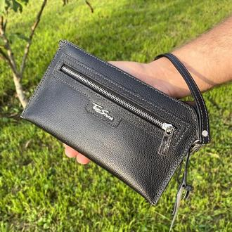 Клатч мужской кожаный (барсетка) Tom Stone К2 черный