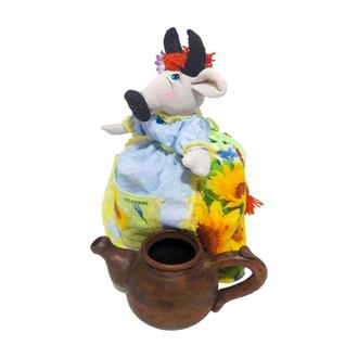Грелка на заварочный чайник Коровка в юбке.