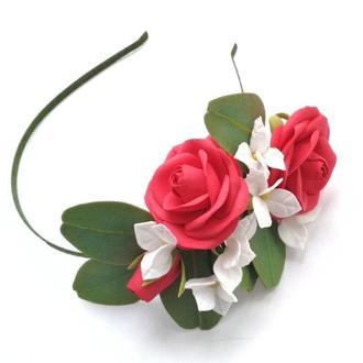 ободок обруч с розами эвкалиптом и гортензией