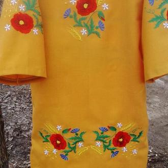 вышитое шерстяное платье для девочки