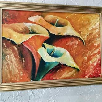 Цветы в интерьере, картина, размер 20х30см