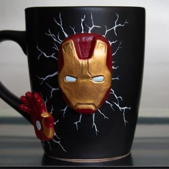 Чашка с декором Железный человек, чашка марвел, Iron Man чашка