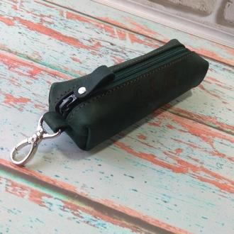Ключницы кожаная Ness зелёная(бутылка)