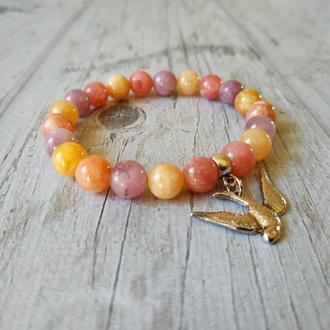 Женский браслет из натурального камня «Солнечный и нежный»