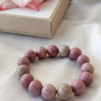 Браслет з натуральних каменів, браслет з родоніту, браслет на подарунок, монобраслет