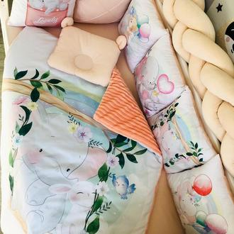 Комплект в кроватку Cute Elephant MAAMdesign + ортопедическая подушка с ушками
