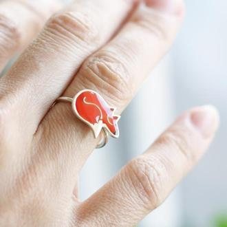 Серебряное кольцо Лисичка с эмалью